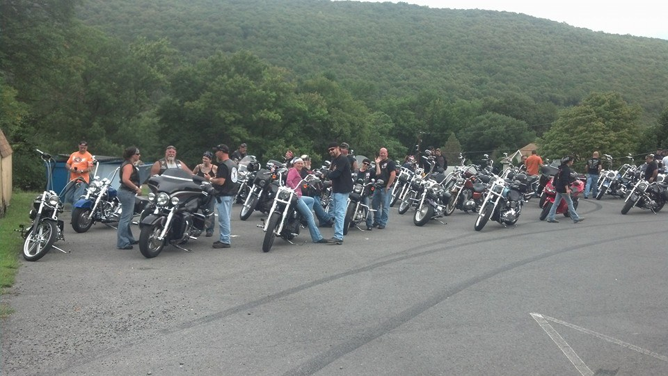 Bikers stop by the Trevorton VFW, during the  Benefit Ride for Cory Thompson.   Photo courtesy of Trevorton VFW on Facebook.