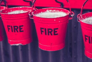 Red fire buckets
